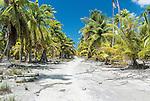 A remote road on the island of Kiritimati in Kiribati.