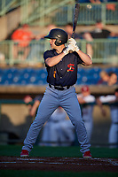 State College Spikes Matt Duce (8) at bat during a NY-Penn League game against the Mahoning Valley Scrappers on August 29, 2019 at Eastwood Field in Niles, Ohio.  State College defeated Mahoning Valley 8-1.  (Mike Janes/Four Seam Images)