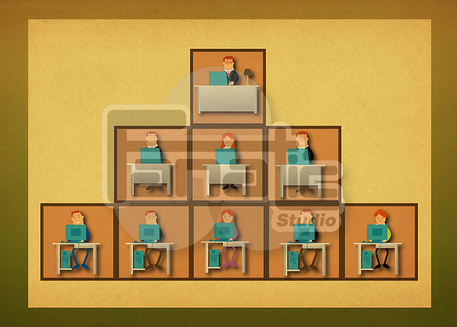 Illustrative representation of an office hierarchy