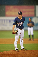 Elizabethton Twins relief pitcher Zach Neff (21) looks in for the sign during a game against the Bristol Pirates on July 29, 2018 at Joe O'Brien Field in Elizabethton, Tennessee.  Bristol defeated Elizabethton 7-4.  (Mike Janes/Four Seam Images)