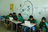 IN THE PUBLIC HIGH SCHOOL CHUUK, MICRONESIA, PACIFIC STUDENTS USING DONATED iBOOKS,.a program at this school by Clark Graham and Andy Kerr for helping the not so unfortuned children in the pacific, the Mac iBooks have been donated, more software has been recently supplied by Apple, teaching the children arts and communication on a volunteer basis
