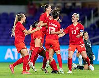 ORLANDO, FL - FEBRUARY 21: Sarah Stratigakis #10 of Canada celebrates her goal during a game between Canada and Argentina at Exploria Stadium on February 21, 2021 in Orlando, Florida.