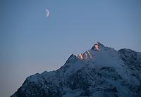Moon over Polar Bear Peak, Eagle River Alaska.