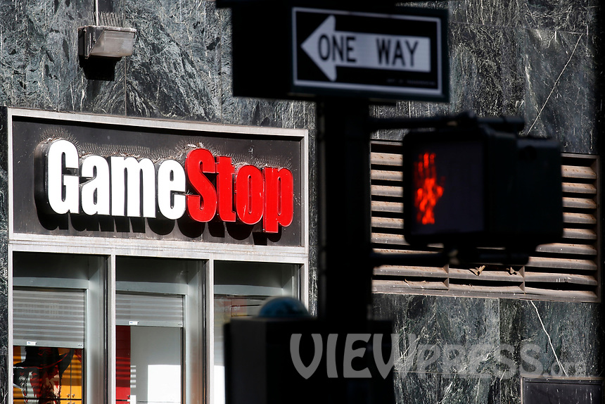 NEW YORK - NEW YORK - MARCH 23: GameStop sign on GameStop at 6th Avenue on March 23, 2021 in New York. GameStop stocks falls more than 10% after the video game store showing  strong earnings but lower than expected. (Photo by John Smith/VIEWpress)