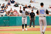Rocket City Trash Pandas third baseman Luis Aviles Jr. (14) on defense against the Tennessee Smokies at Smokies Stadium on July 2, 2021, in Kodak, Tennessee. (Danny Parker/Four Seam Images)
