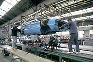 October, 1980. Suzuka, Japan. The assembly line at the Honda factory in Suzuka.