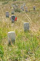 Stone markers preserve the location of fallen 7th Cavalry soldiers, including General George Armstrong Custer, at the Little Bighorn Battlefield National Monument in Wyoming. The Battle of Little Bighorn took place on June 25, 1876 when Armstrong's 7th Cavalry was met by a combined force of Lakota-Northern Cheyenne and Arapaho soldiers.