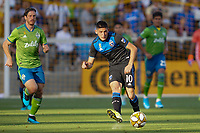 SAN JOSE, CA - SEPTEMBER 30: Cristian Espinoza #10 of the San Jose Earthquakes during a Major League Soccer (MLS) match between the San Jose Earthquakes and the Seattle Sounders on September 30, 2019 at Avaya Stadium in San Jose, California.
