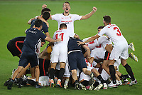 21st August 2020, Rheinenergiestadion, Cologne, Germany; Europa League Cup final Sevilla versus Inter Milan;  Sevilla players celebrate on the final whistle following their team's victory