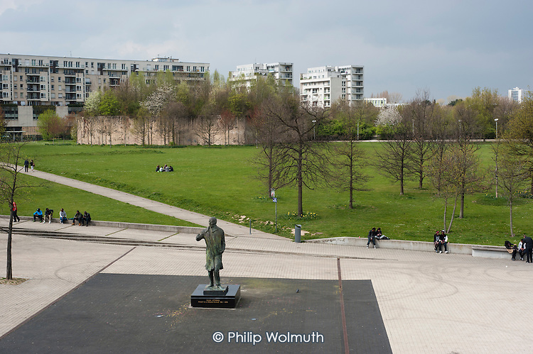 Statue of Francois Mitterand in a park in the Euralille district of Lille, France, close to the TGV railway transport hub which boosted the city's economy following the decline of its mining and textile industries.
