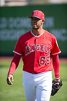 Los Angeles Angels starting pitcher JC Ramirez (66) during Spring Training Camp on February 22, 2018 at Tempe Diablo Stadium in Tempe, Arizona. (Zachary Lucy/Four Seam Images)