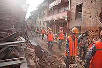 Nepalese police rescue force at work in a street of Shanku near Kathmandu, Nepal. May 9, 2015