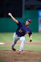 State College Spikes relief pitcher Will Changarotty (37) delivers a pitch during a game against the Batavia Muckdogs on July 9, 2018 at Dwyer Stadium in Batavia, New York.  State College defeated Batavia 3-0.  (Mike Janes/Four Seam Images)
