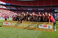 29th May 2021; Wembley Stadium, London, England; English Football League Championship Football, Playoff Final, Brentford FC versus Swansea City; Brentford players celebrate with the Sky Bet EFL Championship Plays-off Trophy and their 2-0 win and promotion to the Premier League