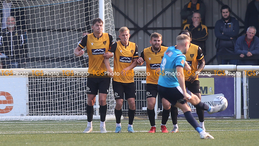 A free-kick from Eastbourne Borough's James Hammond is deflected into the Maidstone goal for the opening goal during Maidstone United vs Eastbourne Borough, Vanarama National League South Football at the Gallagher Stadium on 9th October 2021