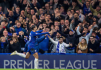 Chelsea supporters celebrate with goalscorer Alvaro MORATA of Chelsea during the Premier League match between Chelsea and Crystal Palace at Stamford Bridge, London, England on 4 November 2018. Photo by Andy Rowland.<br /> .<br /> (Photograph May Only Be Used For Newspaper And/Or Magazine Editorial Purposes. www.football-dataco.com)