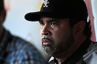 Chicago White Sox manager Ozzie Guillen #13 before a game against the Los Angeles Angels at Angel Stadium on August 23, 2011 in Anaheim,California. Los Angeles defeated Chicago 5-4.(Larry Goren/Four Seam Images)