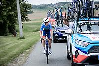 Pim Ligthart (NED/Total Direct Energie) asking mechanic assistance. <br /> <br /> GP Marcel Kint 2019<br /> One Day Race: Kortrijk – Zwevegem 188.10km. (UCI 1.1)<br /> Bingoal Cycling Cup 2019