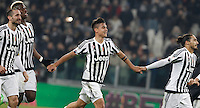 Calcio, semifinali di andata di Coppa Italia: Juventus vs Inter. Torino, Juventus Stadium, 27 gennaio 2016.<br /> From left, Juventus' Giorgio Chiellini, Paul Pogba, Paulo Dybala and Martin Caceres celebrate at the end of the Italian Cup semifinal first leg football match between Juventus and FC Inter at Juventus stadium, 27 January 2016. Juventus won 3-0.<br /> UPDATE IMAGES PRESS/Isabella Bonotto