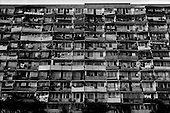 Gdansk, Poland.August 1997.A small section of an 800-meter long apartment building that houses 6,500 people. It was built in the 70's and remains fully occupied today. Near by is a one kilometer building with a new McDonalds just at its' back door..