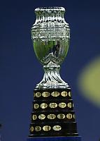 10th July 2021, Estádio do Maracanã, Rio de Janeiro, Brazil. Copa America tournament final, Argentina versus Brazil; The Copa América 2021 trophy on display