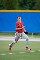 GCL Phillies West right fielder Trent Bowles (21) tracks a fly ball during a game against the GCL Blue Jays on August 7, 2018 at Bobby Mattick Complex in Dunedin, Florida.  GCL Blue Jays defeated GCL Phillies West 11-5.  (Mike Janes/Four Seam Images)