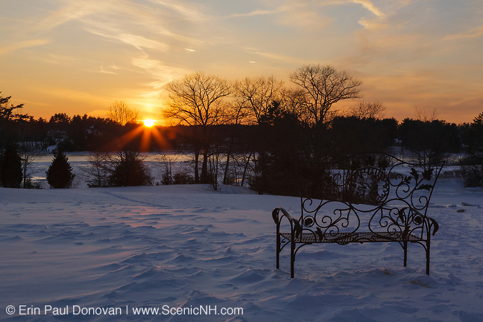 The silhouette of a trees at Wagon Hill Farm in Durham, New Hampshire at sunset during the winter months.