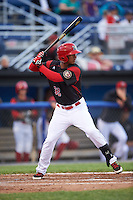 Batavia Muckdogs right fielder Jhonny Santos (32) at bat during a game against the West Virginia Black Bears on June 28, 2016 at Dwyer Stadium in Batavia, New York.  Batavia defeated West Virginia 3-1.  (Mike Janes/Four Seam Images)