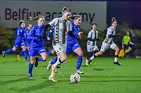 Charleroi forward Estelle Dessilly (13) pictured during a female soccer game between Sporting Charleroi and KRC Genk Ladies on the 9th matchday of the 2020 - 2021 season of Belgian Scooore Womens Super League , friday 11 th of December 2020  in Marcinelle , Belgium . PHOTO SPORTPIX.BE | SPP | STIJN AUDOOREN