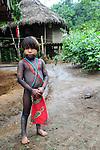 Indígenas emberá / comunidad indígena emberá, Panamá.<br /> <br /> Niño indígena.
