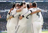 Real Madrid's Karim Benzema, Raphael Varane, Alvaro Morata, Fabio Coentrao, Sergio Ramos and Pepe celebrate goal during La Liga match.March 02,2013. (ALTERPHOTOS/Acero) /NortePhoto