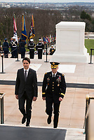 Prime Minister of Canada Justin Trudeau, left, is escorted by Maj. Gen. Bradley A. Becker, commanding general Joint Force Headquarters-National Capital Region and U.S. Army Military District of Washington, toward the Memorial Amphitheater Display Room after a wreath laying ceremony at the Tomb of the Unknown Soldier at Arlington National Cemetery, March 11, 2016, in Arlington, Va. Trudeau laid a wreath at the Tomb and the Canadian Cross of Sacrifice while at the cemetery. (U.S. Army photo by Rachel Larue/Arlington National Cemetery/released).