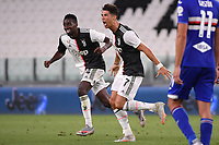 Cristiano Ronaldo of Juventus celebrates with Blaise Matuidi after scoring the goal of 1-0 during the Serie A football match between Juventus FC and UC Sampdoria at Juventus stadium in Turin (Italy), July 26th, 2020. Play resumes behind closed doors following the outbreak of the coronavirus disease. <br /> Photo Federico Tardito / Insidefoto