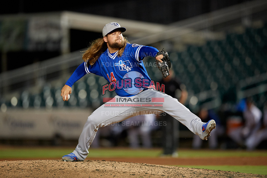 Oklahoma City Dodgers relief pitcher Stetson Allie (14) during a Pacific Coast League game against the New Orleans Baby Cakes on May 6, 2019 at Shrine on Airline in New Orleans, Louisiana.  New Orleans defeated Oklahoma City 4-0.  (Mike Janes/Four Seam Images)