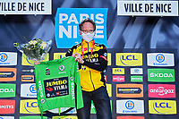 14th March 2021, Levens, France;  The Green shirt for ROGLIC Primoz (SLO) of Team Jumbo-Visma who is not on podium because of injury during stage 8 of the 79th edition of the 2021 Paris - Nice cycling race, a stage of 92,7 kms between Plan-du-Var and Levens on March 14, 2021 in Levens, France