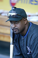 Greg Vaughn of the Tampa Bay Devil Rays before a 2002 MLB season game against the Los Angeles Angels at Angel Stadium, in Los Angeles, California. (Larry Goren/Four Seam Images)