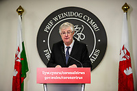 "Pictured: First Minister Mark Drakeford speaks during the Welsh Government briefing in Cardiff, Wales, UK. Friday 08 January 2021<br /> Re: The lockdown measures in Wales are being extended for a further three weeks and the Welsh Government is also looking at imposing further restrictions on supermarkets and shops that remain open.<br /> Ahead of a press briefing today, the First Minister has confirmed current Alert Level 4 lockdown restrictions will be extended for three weeks in Wales and are set to be strengthened in ""key areas""."