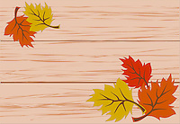 Vector illustration of vibrant colorful autumn leaves lying on wooden bench.<br /> <br /> This image is also available as scalable EPS and PNG format.