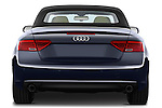 Straight rear view of a 2013 Audi A5 Convertible with the top up..