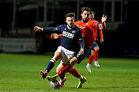 23rd February 2021; Kenilworth Road, Luton, Bedfordshire, England; English Football League Championship Football, Luton Town versus Millwall; Sonny Bradley of Luton Town tackles Tom Bradshaw of Millwall
