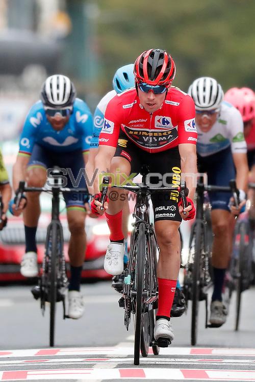 Cycling: Vuelta Espana 2020 / Tour Spain 2020 / 2 Etapa / 2 Stage / .ARRIVAL / LLEGADA / ROGLIC, Primoz (SLO) /.Pamplona - Lekunberri (151,6 km) 21-10-2020/.Vuelta Espana 2020 / Tour Spain 2020 / 2 Etapa / 2 Stage /.Luis Angel Gomez .©PHOTOGOMEZSPORT2020 - STRICTLY UK MEDIA EDITORIAL USE ONLY MANDATORY BYLINE/PHOTO CREDIT including social media to ASO/GOMEZSPORT