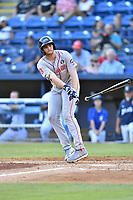 Greenville Drive third baseman Triston Casas (38) throws his bat after drawing a walk during a game against the Asheville Tourists at McCormick Field on July 10, 2019 in Asheville, North Carolina. The Tourists defeated the Drive 1-0. (Tony Farlow/Four Seam Images)