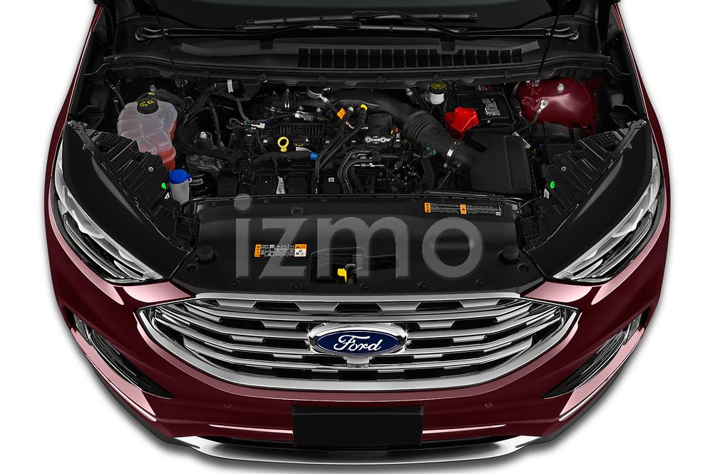 Car stock 2019 Ford Edge Titanium 5 Door SUV engine high angle detail view