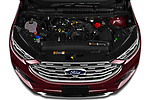Car stock 2019 Ford Edge Titanium 5 Door SUV engine high angle detail view