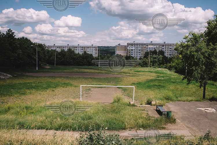 A football pitch in the Ciocana district.