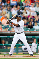 Torii Hunter (48) of the Detroit Tigers at bat against the Tampa Bay Rays at Comerica Park on June 4, 2013 in Detroit, Michigan.  The Tigers defeated the Rays 10-1.  Brian Westerholt/Four Seam Images