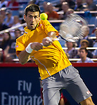 Novak Djokovic (SRB) defeats Ernests Gulbis (LAT) 5-7, 7-6, 6-1 at the Rogers Cup in Montreal,  on August 14, 2015.