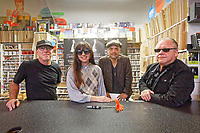 "Pictured L-R: The Pixies David Lovering, Paz Lenchantin, Joey Santiago and Black Francis. Friday 13 September 2019<br /> Re: American Band Pixies have signed copies of their latest album ""Beneath The Eyrie"" at Spillers Records, the oldest record shop in the world, in Morgan Arcade, Cardiff, Wales, UK."