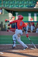 Kevin Maitan (9) of the Orem Owlz bats against the Ogden Raptors at Lindquist Field on June 26, 2018 in Ogden, Utah. The Raptors defeated the Owlz 6-5. (Stephen Smith/Four Seam Images)