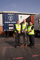 Pictured in the yard from left are Nick Setaro, Dave Smith and Tony Horan all from Kuehne + Nagel